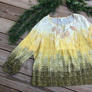 Coldwater Creek Green Yellow Cream chevron blouse
